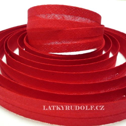 Šikmý proužek bavlněný 14mm červený