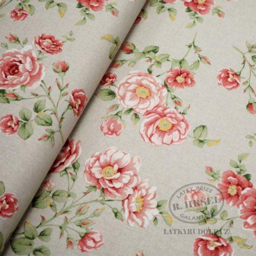 Látka Velké růže tm. růžové na pevné režné 102573