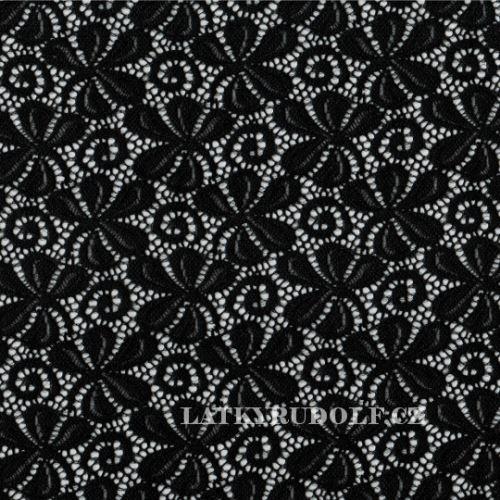 Látka Krajka elastická černá TE08380114