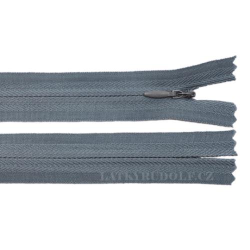 Zip skrytý 3mm nedělitelný 22cm 316-modrošedý
