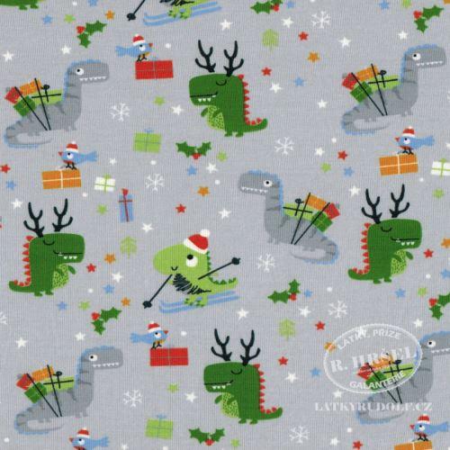 Látka Bavlněný úplet vánoční dinosauři 149394