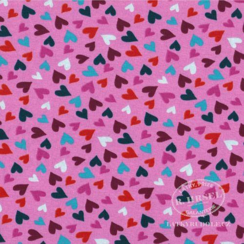 Látka Bavlněný úplet pestrá srdíčka na růžové 149342