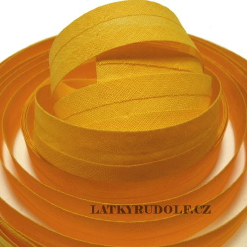 Šikmý proužek bavlněný 20mm sytě žlutý