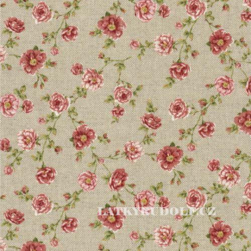 Látka Růžičky tm. růžové na pevné režné 102795