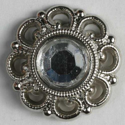 Knoflík Dill 15mm stříbrný s kamenem 370271
