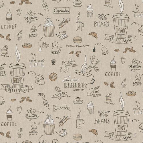 Látka s kávou a zákusky na pevné režné 201977