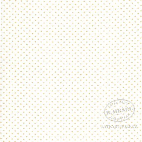 Látka Puntík 1,5mm Pisani zlatý na bílé 103105