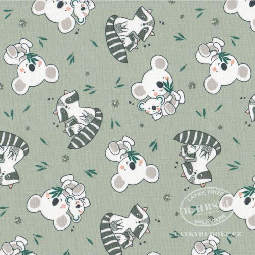 Látka Medvídek koala a mýval Koaz zelená 103502