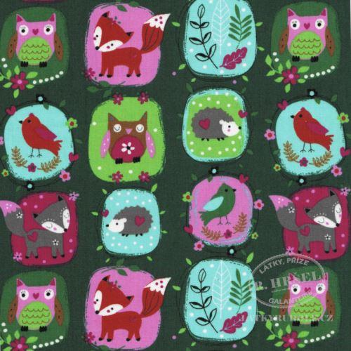 Látka Zvířátka v kruzích na zelené 103457