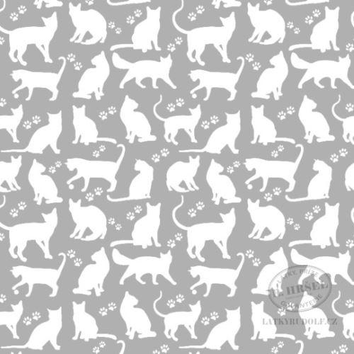 Látka Kočky bílé na šedé 103355