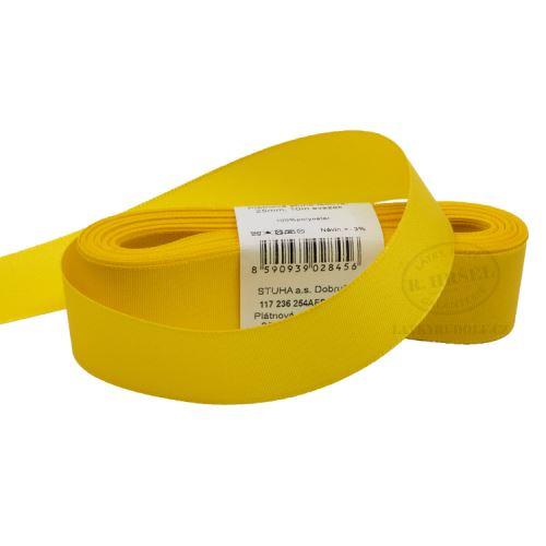 Stuha taftová šíře 25mm 30207-kanárkově žlutá, 10m