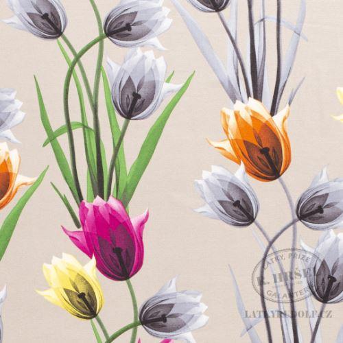 Látka Viskózový úplet tulipány na béžové 169029
