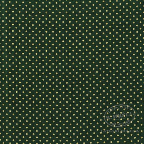 Látka Puntík 2mm na zelené zlatotisk 103578
