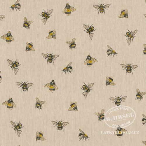 Látka Včely na pevné režné 201911