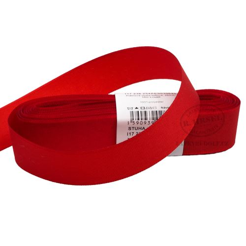 Stuha taftová šíře 25mm 30645-červená, 10m