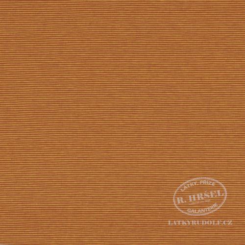 Látka Bavlněný úplet proužek 1mm hořčicový 149326