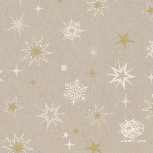 Látka Vánoční hvězdy bílé-zlaté na pevné režné 201875