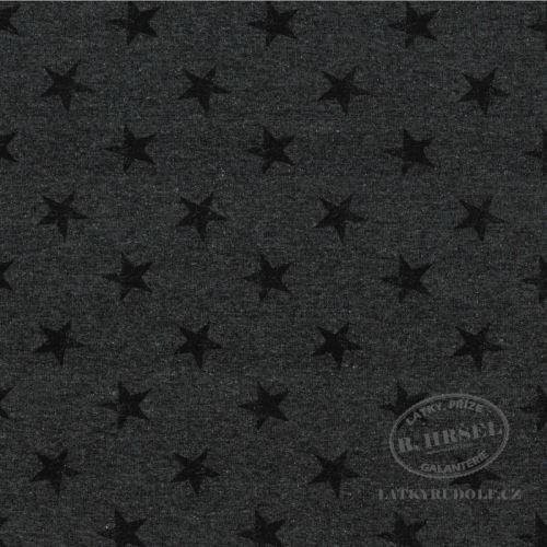 Látka Teplákovina hvězdy na šedé 145015