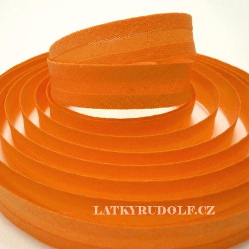 Šikmý proužek bavlněný 14mm oranžový