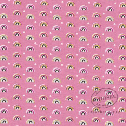 Látka Bavlněný úplet úlky růžové 149302
