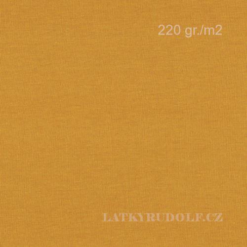 Látka Bavlněný úplet 220g hořčicová (moutarde) 142528