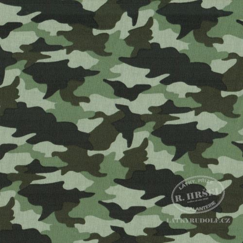 Látka Maskáč army 1B zelený 103481