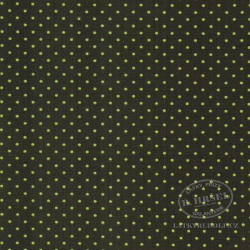 Látka Bavlněný úplet puntík 2mm zelený 149330