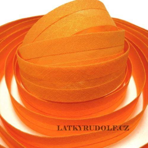 Šikmý proužek bavlněný 20mm oranžový