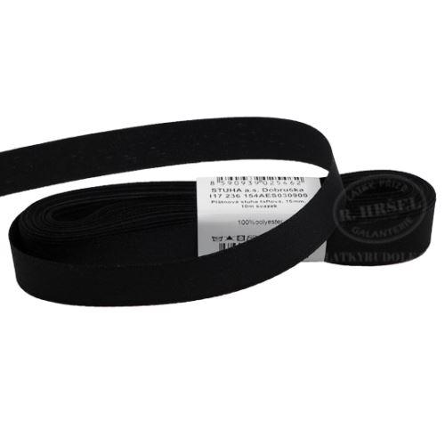 Stuha taftová šíře 15mm 30900-černá, 10m
