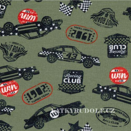 Látka Bavlněný úplet racing cars 144022