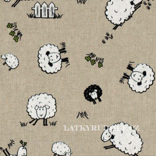 Látka Ovce na pevné režné 101348