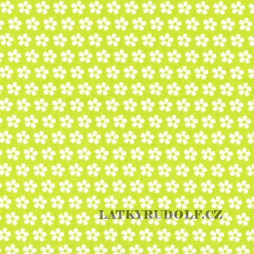 Látka kytička na světle zelené 100679