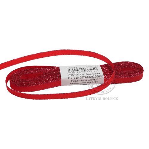 Stuha taftová s rexorem šíře 6mm 30643-červená+stříbro