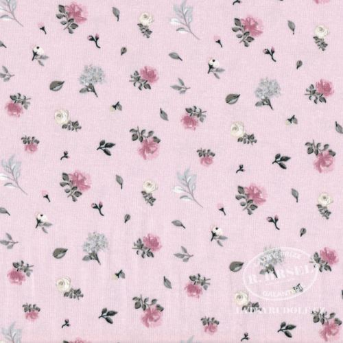 Látka Bavlněný úplet růžičky na růžové 149382