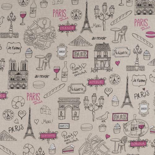 Látka Paříž na pevné režné 102368