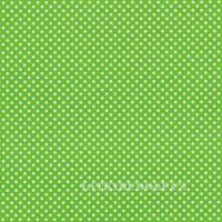 Látka Puntík 3mm bílý na jarní zelené 102712