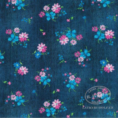 Látka Bavlněný úplet květy na džínové 149364