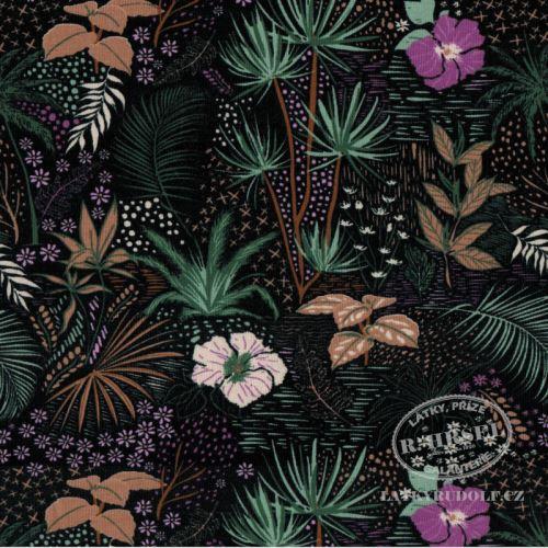 Látka Bavlněný úplet džungle 149400