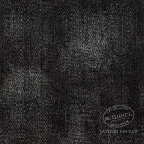 Látka Bavlněný úplet džínovina černá 149362