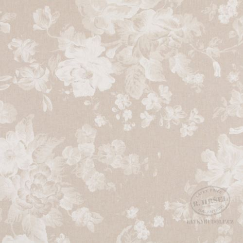 Látka Bílé květy na pevné režné 103019