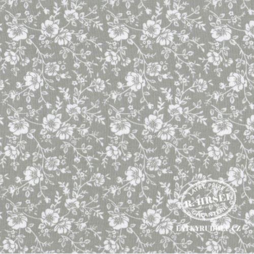 Látka Popínavé květy na šedé 103366