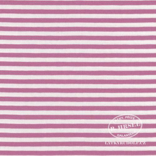 Látka Bavlněný úplet proužek 5mm tmavě růžový 149333