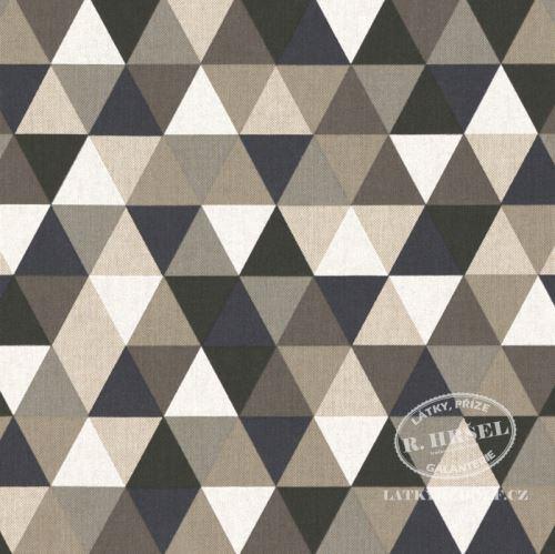 Látka Trojúhelníky černobílé, šedé na pevné režné 201830