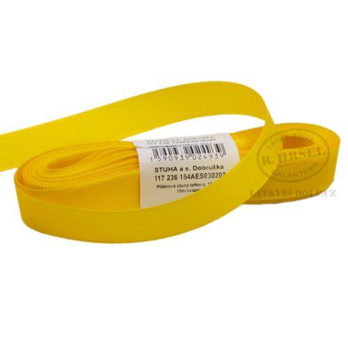 Stuha taftová šíře 15mm 30207-kanárkově žlutá