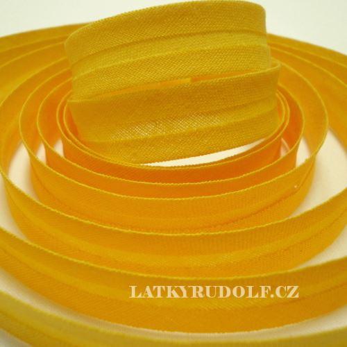 Šikmý proužek bavlněný 14mm sytě žlutý