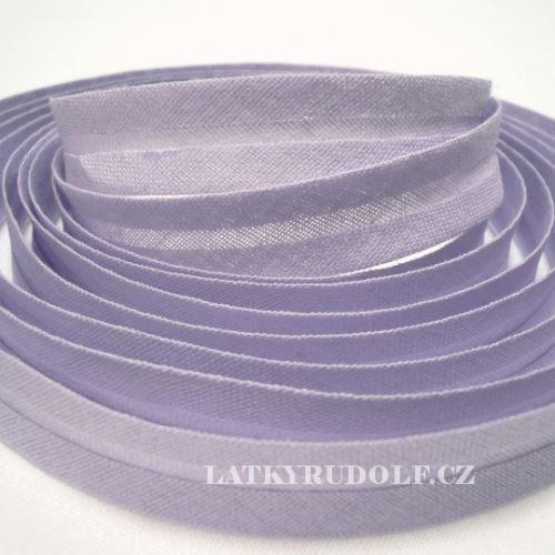 Šikmý proužek bavlněný 14mm světle fialový