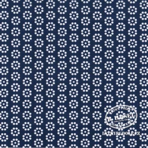 Látka Kruhová kytička modrá 103348