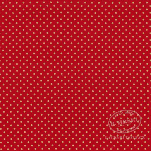 Látka Puntík 2mm na červené zlatotisk 103579