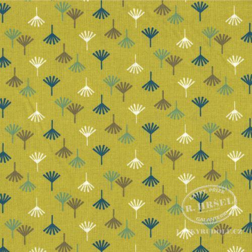Látka Dino stopy Tikama zelené 103551