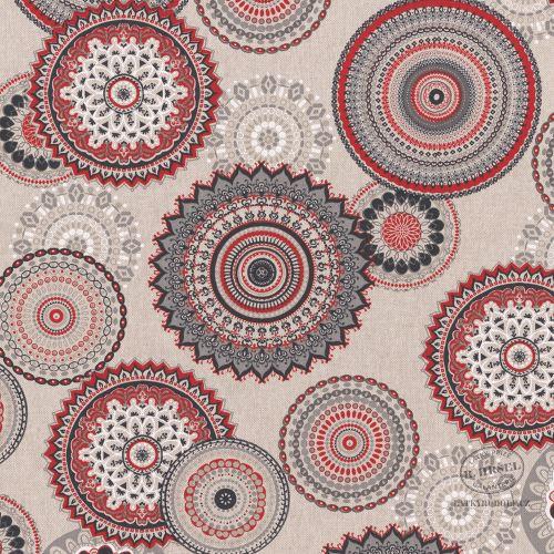 Dekorační látka Mandaly červené na pevné režné 103084